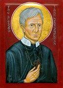 Catholic Icon Painting Framed Prints - Icon of the Blessed John Henry Newman Framed Print by Juliet Venter