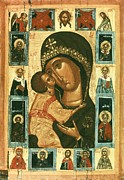 Byzantine Icon Framed Prints - Icon Of The Virgin Of The Tenderness Framed Print by Everett