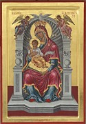 Byzantine Originals - Icon of Virgin enthroned Lambovitissa with child by Adamantia Karatza