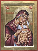 Byzantine Painting Originals - Icon of Virgin Kardiotissa with child by Adamantia Karatza