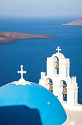 Greek Icon Posters - Iconic blue cupola overlooking the sea Santorini Greece Poster by Matteo Colombo