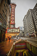 Red Line Prints - Iconic Chicago Theatre sign Print by Sven Brogren