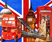 London England  Digital Art - Iconic London Pop Art Tribute by Mark E Tisdale