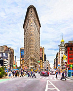 Flat Iron Framed Prints - Iconic New York City Flatiron Building Framed Print by Mark E Tisdale