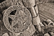 Badges Framed Prints - Iconic Texas BW Framed Print by JC Findley