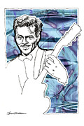 Rhythm And Blues Drawings - ICONS- Chuck Berry by Jerrett Dornbusch