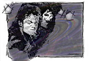 Jackson Five Drawings Posters - ICONS - Michael Jackson Poster by Jerrett Dornbusch
