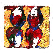 Beatles Drawings - ICONS - The Beatles by Jerrett Dornbusch
