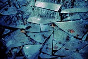 Choppy Digital Art - Icy Abstract in Blue 2013 by Beth Akerman