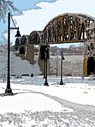 Snow Scenes Digital Art Metal Prints - Icy Crossing Metal Print by Betty Smithhart