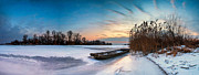 Icy Framed Prints - Icy dawn panorama Framed Print by Davorin Mance