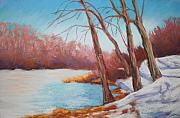 Snow Pastels - Icy Lake by Marion Derrett