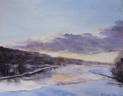 Cold Morning Sun Paintings - Icy River Dawn by Martin Howard