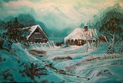 Winterscape Painting Originals - Icy Twilight by Sharon Duguay