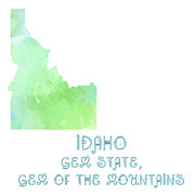 Maps Prints - Idaho - Gem State - Gem of the Mountains - Map - State Phrase - Geology Print by Andee Photography