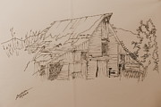 Old Barns Drawings Posters - Idaho Barn Poster by Joel Deutsch