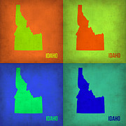 World Map Digital Art Metal Prints - Idaho Pop Art Map 1 Metal Print by Irina  March