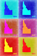 World Map Digital Art Metal Prints - Idaho Pop Art Map 2 Metal Print by Irina  March