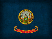 Idaho Prints - Idaho State Flag Art on Worn Canvas Print by Design Turnpike