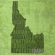 Yellowstone Mixed Media - Idaho State Word Art Map on Canvas by Design Turnpike