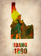 Us State Map Framed Prints - Idaho Watercolor Map Framed Print by Irina  March