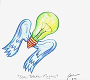 Signed Drawings Prints - Idea Takes Flight Print by Feile Case