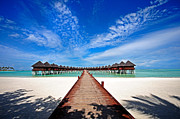 Bungalows Framed Prints - Idyllic Symmetry. Water Villas. Maldives Framed Print by Jenny Rainbow