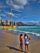 Hawaiian Islands Prints - Idyllic Waikiki Beach No 2 Print by David Smith