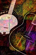 Acoustical Digital Art Prints - If Not For Color Digital Banjo and Guitar Art by Steven Langston Print by Steven Lebron Langston