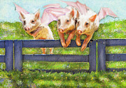 Farm Animals Digital Art Posters - If Pigs Could Fly Poster by Jane Schnetlage