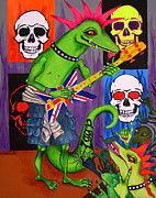 Sculls Paintings - Iggy Plays Guitar by Louise Hallauer