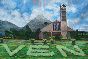 Vulcan Paintings - Iglesia La Fortuna  Costa Rica by Jeff Seaberg