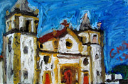 Landscape Prints Pastels Framed Prints - Igreja da Se de Olinda Framed Print by Greg Mason Burns