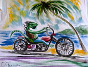 Motorcycle Pastels - Iguana Rider by David Francke