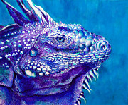 Caribbean Sea Paintings - Iguana Study I by Paulene Edwards