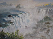 Travel Destination Painting Originals - Iguazu Falls by Mohamed Hirji
