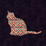 Rustic Digital Art Posters - Ikat Cat Poster by Budi Satria Kwan