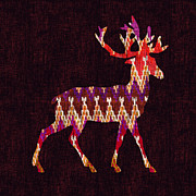 Indian Prints - Ikat deer Print by Budi Satria Kwan