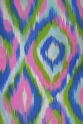 Pink Tapestries - Textiles Posters - Ikat-Inspired Abstract Painting  Poster by Julia Mikhailiuk