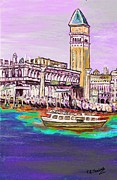 Gondola Mixed Media Framed Prints - Il Campanile di San Marco Framed Print by Loredana Messina