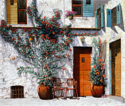 Red Flowers Painting Posters - Il Cortile Bianco Poster by Guido Borelli