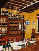 Italian Wine Painting Originals - Il Falconiere by Roxanna Smith