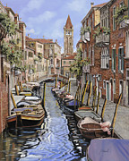 Cat Framed Prints - il gatto nero a Venezia Framed Print by Guido Borelli