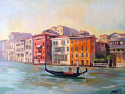 Italian Landscapes Paintings - Il gondoliere by Filip Mihail