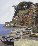Harbour Painting Framed Prints - il porto di Sorrento Framed Print by Guido Borelli