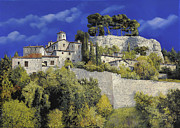 Provence Village Painting Posters - Il Villaggio In Blu Poster by Guido Borelli