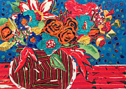 Table Cloth Mixed Media Prints - Ilanas Flower Arangement Print by Diane Fine