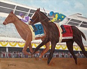 Tripple Painting Prints - Ill Have Another wins preakness Print by Glenn Stallings