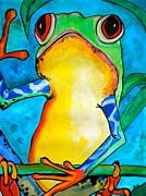 Frog Mixed Media Posters - Ill Have the Fly Poster by Debi Pople