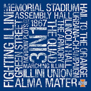 Memorial Stadium Art - Illinois College Colors Subway Art by Replay Photos